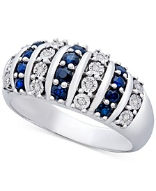 Blue Sapphire (3/8 ct. t.w.) & Diamond (1/20 ct. t.w.) Ring in Sterling Silver