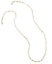 14K Gold Plated Fresh Water Pearl Mask Chain