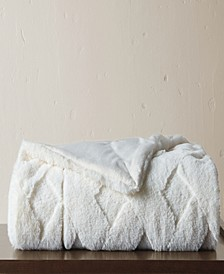 Sculpted Faux Fur Throw Blanket