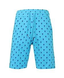 Men's Slim Fit French Terry Printed Shorts with Contrasting Palm Tree Design