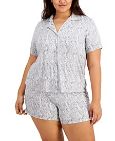 Plus Size Printed Knit Pajama Shorts Set, Created for Macy's