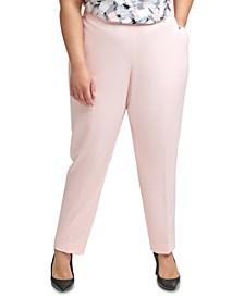 Plus Size Elastic-Back Slim-Leg Pants