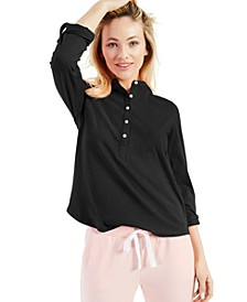 Cotton Cuffed-Sleeve Henley Top, Created for Macy's