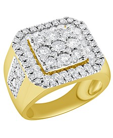 Men's Diamond Cluster Ring (3 ct. t.w.) in 10k Gold and White Gold