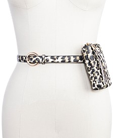 INC Leopard Channel-Stitch Belt Bag, Created for Macy's