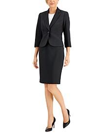 Petite Two-Tone Tweed Skirt Suit