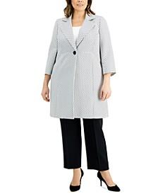 Plus Size One-Button Jacquard Pantsuit