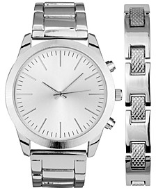 Men's Brushed Silver-Tone or Gold-Tone Bracelet Watch 46mm Gift Set, Created for Macy's
