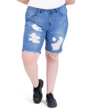 Trendy Plus Size High-Rise Destructed Dream Jean Shorts