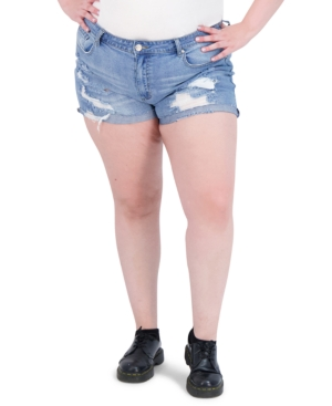 Trendy Plus Size High-Rise Destructed Mom Jean Shorts