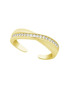 Cubic Zirconia Crossover Toe ring in Gold Plate or Fine Silver Plate