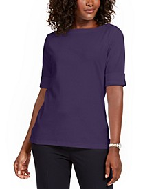 Petite Cotton Elbow-Sleeve T-Shirt, Created for Macy's
