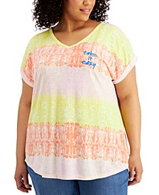 Plus Size Graphic Print V-Neck T-Shirt, Created for Macy's