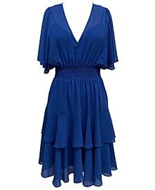 Plus Size Blouson Tiered-Hem Dress