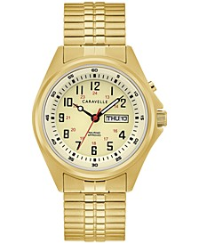 Men's Traditional Gold-Tone Stainless Steel Expansion Bracelet Watch 40mm