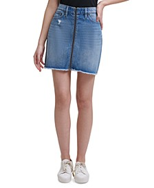 Zip-Front High-Rise Denim Skirt
