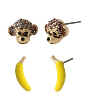 Monkey Duo Stud Earrings