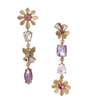 Flower Mismatch Linear Earrings