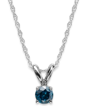 10k White Gold Blue Diamond Pendant Necklace (1/5 ct. t.w.)