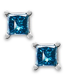 10k White Gold Blue Diamond Stud Earrings (1/5 ct. t.w.)