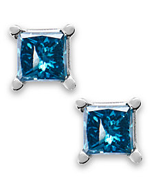 10k White Gold Blue Diamond Stud Earrings (1/5 ct. t.w.)