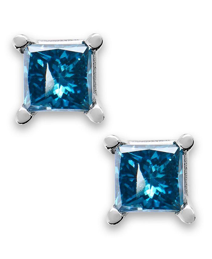 Macy's - 10k White Gold Blue Diamond Stud Earrings (1/5 ct. t.w.)