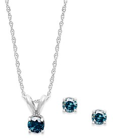 10k White Gold Blue Diamond Necklace and Earring Set (1/4 ct. t.w.)