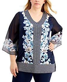 Plus Size Printed Studded Top, Created for Macy's