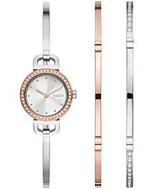 Women's City Link Two-Tone Stainless Steel Bangle Bracelet Watch 22mm Gift Set