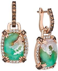 Crème Brûlée® Aquaprase Candy & Diamond (1-1/20 ct. t.w.) Drop Earrings in 14k Rose Gold