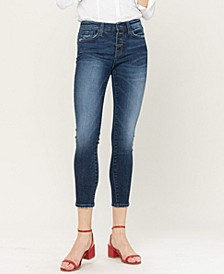 Women's Mid Rise Exposed Button Skinny Jeans