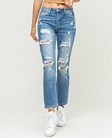 Women's Distressed Stretch Back Crease Line Boyfriend Jeans