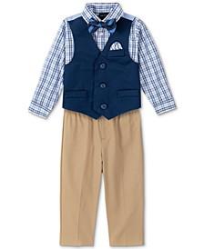 Baby Boys Shirt, Solid Twill Vest, Pants & Bowtie Set