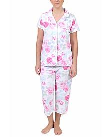 Floral-Print Cropped Pajama Pants Set