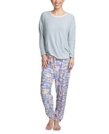 Cool Girl Solid Top & Printed Jogger Pants Pajama Set