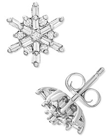 Diamond Snowflake Cluster Stud Earrings (1/4 ct. t.w.) in 14k Gold or 14k White Gold