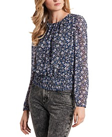 Floral-Print Smocked-Waist Top