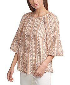 Volume-Sleeve Embroidered Top