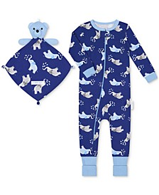 Baby Boys 1-Piece Elephant-Print Coverall with Blankie Baby