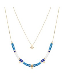 Gold Flash Plated Evil Eye and Blue Disc Bead Layered Pendant Necklace