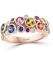 EFFY® Multi-Gemstone (2-1/5 ct. t.w.) & Diamond (1/10 ct. t.w.) Bezel Scatter Statement Ring in 14k Rose Gold