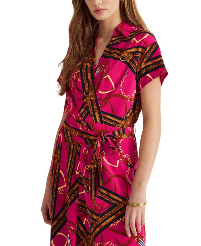 Lauren Ralph Lauren Print Belted Crepe Dress & Reviews - Dresses - Women - Macy's
