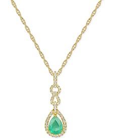 "Emerald (1 ct. t.w.) & Diamond (1/3 ct. t.w.) 18"" Pendant Necklace in 14k White Gold (Also in Ruby & Sapphire)"