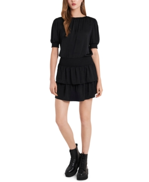1.state SMOCKED TIERED RUFFLE DRESS