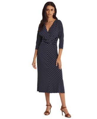 로렌 랄프로렌 Lauren Ralph Lauren Striped Jersey Elbow-Sleeve Dress,Lh Navy/colonial Crm