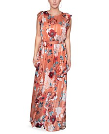 Ruffled Floral-Print Maxi Dress