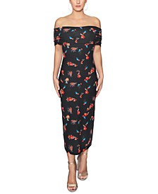 Off-The-Shoulder Printed Midi Dress