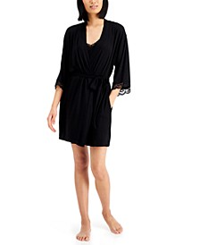 Up All Night Heavenly Soft Lace-Trim Knit Wrap Robe, Created for Macy's