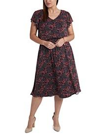 Plus Size Chiffon Smocked-Waist Midi Dress
