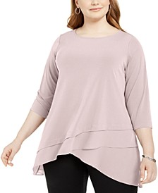 Plus Size Crossover-Hem Tunic Top, Created for Macy's